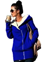 Newfacelook des femmes de dames à double zip fourrure sweat à capuche occasionnels haut veste manteau Sweat à capuche