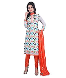 My online Shoppy Women's Chanderi Unstitched Dress Material (My online Shoppy_120_White_Free Size)