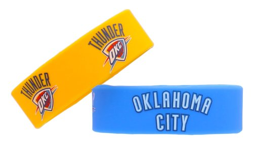 Nba Oklahoma City Thunder Silicone Rubber Bracelet Set, 2-Pack
