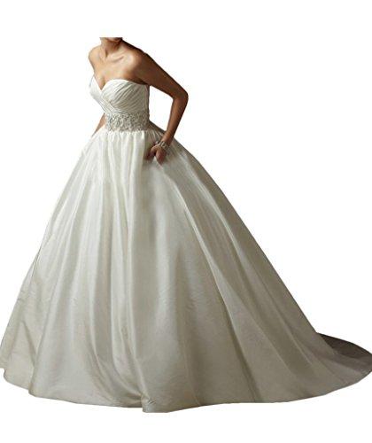Vienna Bride Modern Sweetheart Taffeta Wedding Bridal Dress with Beaded  Waist-10-Ivory 8d4ab5b03f3b