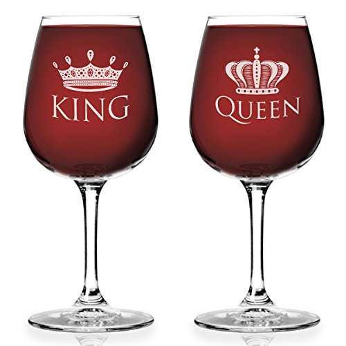 King and Queen 12.75 oz. Wine Glass Set- Cool Gift Idea for Wedding, Anniversary, Newlyweds, and Couples (Set of 2)