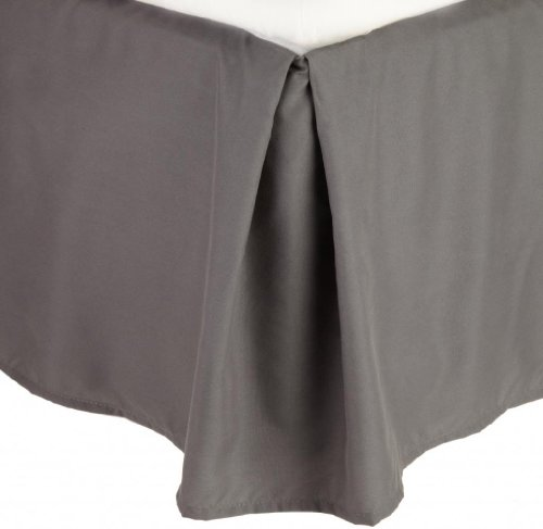 New Clara Clark ® Premier 1800 Collection Solid Bed Skirt Dust Ruffle, Queen Size, Charcoal Gray