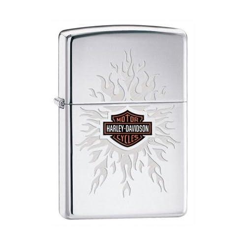 Zippo Harley Davidson Flames High Polish Chrome Lighter