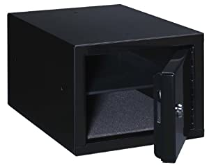 Stack-On Steel Pistol Box with removable shelf, Black