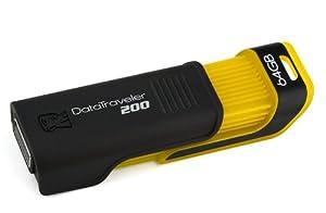 Kingston DataTraveler 200 - 64 GB USB 2.0 Flash Drive DT200/64GB (Black/Yellow)