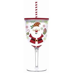 Santa Holiday 13 Oz Insulated Wine Glass