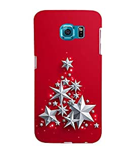 SILVER STARS IN A RED BACK GROUND 3D Hard Polycarbonate Designer Back Case Cover for Samsung Galaxy S6 :: Samsung Galaxy S6 G920