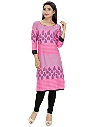 Tanvi Pink Cotton Straight Kurti For Women
