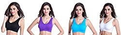 Spangel Fashion Air Sports Non Padded Bra, Pack of 4(Free Size, Size of 28 to 34)