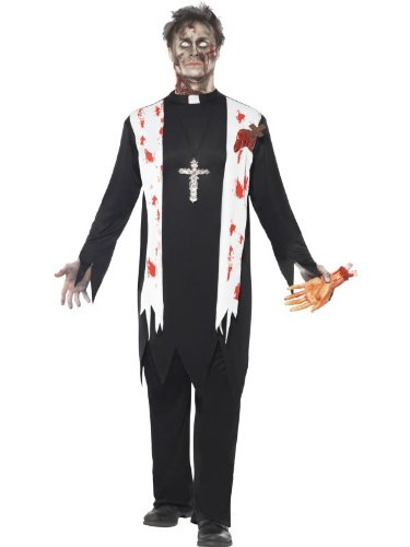 Smiffys Men's Zombie Priest Costume Blooded Top Latex Wound Collar and Trousers