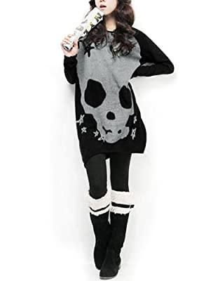 Allegra K Woman Long Sleeve Skull Printed Stretch Pullover Shirt from Allegra K