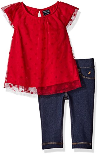 Nautica Girls' Woven Top and Legging Set, Berry, 18 Months