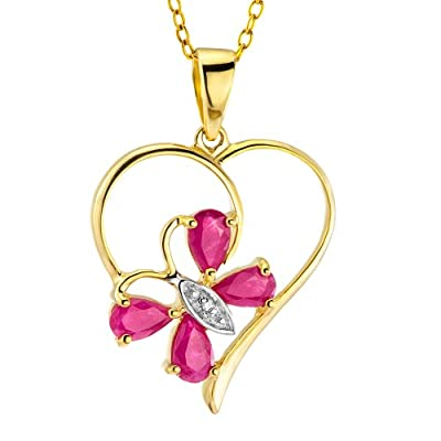 Ornami Glamour 9ct Yellow Gold Ruby & Diamond Heart & Flower Pendant + 46cm Curb Chain