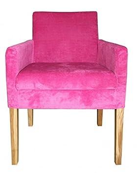 Casa Padrino Luxus Esszimmer Stuhl Pink / Holz Farbig mit Armlehnen