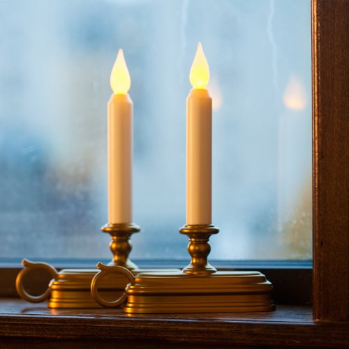 set of 2 olde english flameless ivory taper led candles with brass. Black Bedroom Furniture Sets. Home Design Ideas