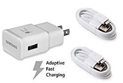 OEM Original Authentic Samsung Fast Charging Adapter Travel Charger + Two (2) OEM Micro USB Data Charge Sync 4 foot Cables for Galaxy S7 S7 Edge S6 S6 Edge Note 4 5 - EP-DG925UWE/ EP-TA20JWE