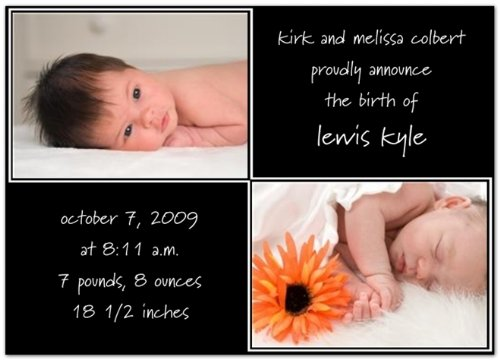 Double Double Black Birth Announcements - Set of 20