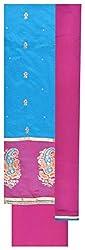 Epic Retail Women's Chanderi Unstitched Suit Dress Material (Blue)