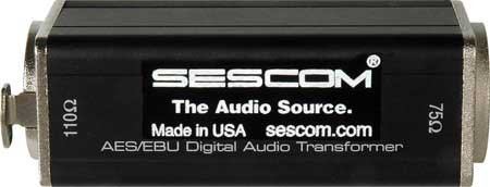 Sescom SES-AES-EBU-1 XLRF to 75 Ohm BNC Female AES/EBU Impedance Transformer, 0.1 to 6MHz Bandwidth