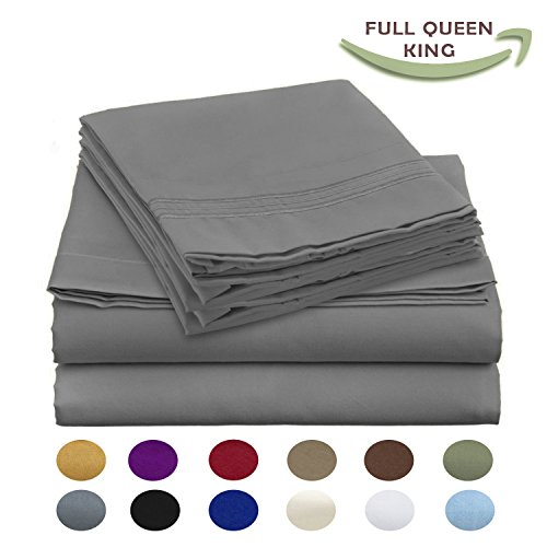 Luxury Egyptian Comfort Wrinkle Free 1800 Thread Count 6 Piece Full Size Sheet Set, COOL GREY Color, 2 Bonus Pillowcases FREE! (Full Size Bed Quilt compare prices)