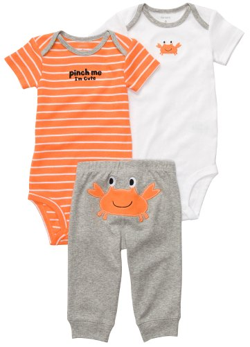 Carters Boys Newborn-12 Months 3 Piece ''Pinch Me I'm Cute'' Crab Onesie Set (6 Months, Orange)