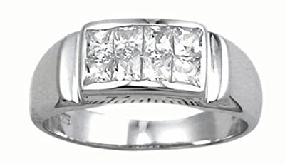 Mens Sterling Silver Ring - Perfect Mens Engagement Ring - CZ Diamond Ring - Promise Ring Solid Sterling Silver - Size R - Z+1