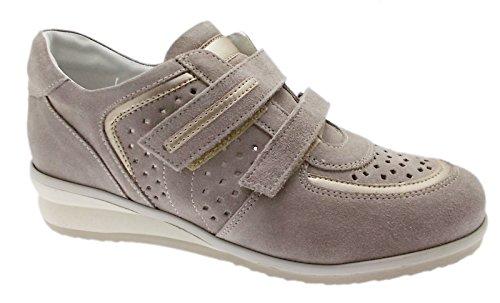 sneaker art C3659 beige taupe traforata scarpa donna ortopedica 41 tortora
