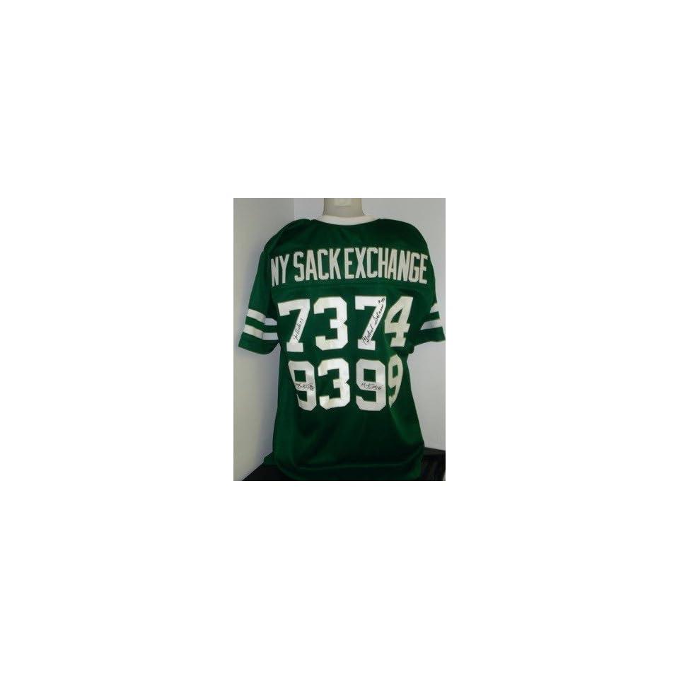 2ee68d5b5 NY JETS SACK EXCHANGE 4x Signed Jersey Gastineau Klecko Autographed NFL  Jerseys