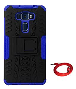 TBZ Hard Grip Rubberized Kickstand Back Cover Case for Asus Zenfone 3 ZE552KL (5.5in) with AUX Cable -Blue