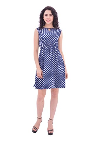 YUGA-Smart-Blue-White-Doted-One-Piece-Frock