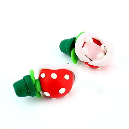 Yosoo Polymer Clay Cute Cartoon Super Mario Piranha Plant Handmade Stud Earrings for Girls (Style C)