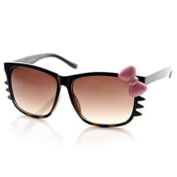 Animal Print Womens Hello Kitty Bow and Whiskers Sunglasses