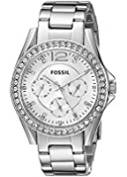 Fossil Women's Riley ES3202 Silver Stainless-Steel Quartz Watch with Silver Dial