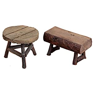 "1pc 2.44"" High Wood Round Stool and 1pc 1.96"" High Square Stool Bench Wooden Handmade Craft Vintage Childhood Memories Photography FilmProps"