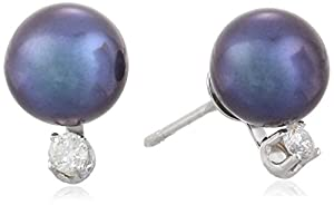 14k White Gold Black Freshwater Cultured Pearl and Diamond Studs (7-7.5mm) 0.10 cttw, H-I Color, I1-I2 Clarity)