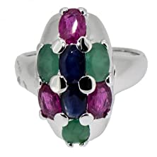 buy Rare Natural Emerald, Ruby, Sapphire Unique Size 8 Ring (Resizeable) 925 Sliver
