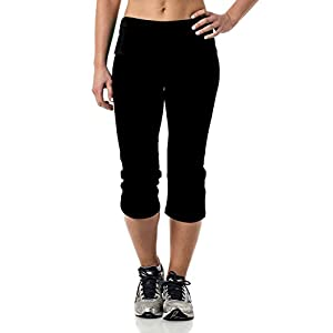 Alki'i Yoga Capri with Foldover waistband, Black M