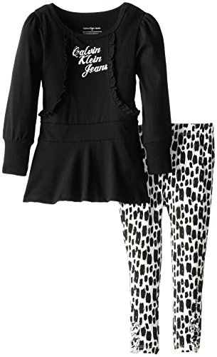 Calvin Klein Little Girls' Knit Tunic With Piecing Set, Black, 4T front-1057527
