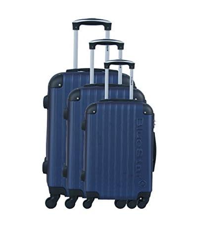 BLUESTAR Set de 3 trolleys rígidos BD-12725 Azul Marino