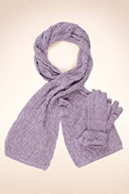 Chenille Pointelle Scarf & Gloves Set [T01-8915-S]