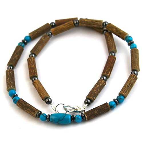 "Hazelaid (TM) Adult Hazelwood-Gemstone Necklace - 16"" Turquoise"