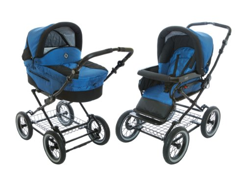 Roan Rocco Classic Pram Stroller 2-In-1 With Bassinet And Seat Unit - Marine