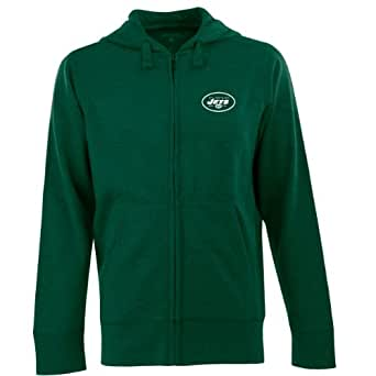 NFL Men's New York Jets Full Zip Signature Hooded Sweatshirt (Dark Pine, Small)