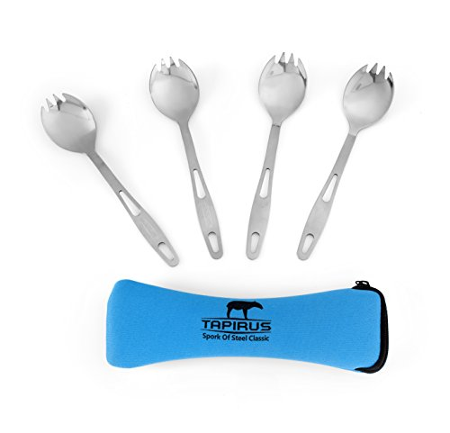 Tapirus Spork of Steel Classic (Set of 4) - Stainless Steel Fork/Spoon Combo Utensil - Flatware for Camping, Mess Kits, Survival Gear, Prepper Supplies - Indoor/Outdoor Use + Carry Case (Stainless Steel Pot Hiking compare prices)