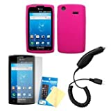 Cbus Wireless Hot Pink Silicone Case / Skin / Cover, LCD Screen Guard / Protector & Car Charger for Samsung Captivate SGH-I897