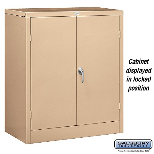 salsbury industries counter height storage cabinet 42 inch by 18 inch tan unassembled office. Black Bedroom Furniture Sets. Home Design Ideas