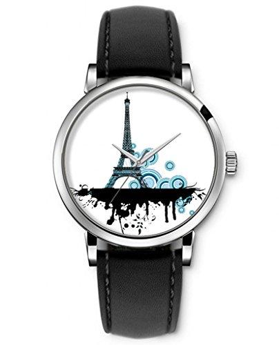Sprawl Aanalog Quartz Wrist Watch Ideal Gift For Teenage Girls Fashion Style Black Genuine Leather Strap -- Elegant Eiffel Tower Drawing