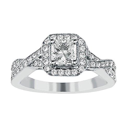 1.25 Ct Tw Braided Pave Set Princess Cut Diamond Engagement Ring In Platinum - Size 4