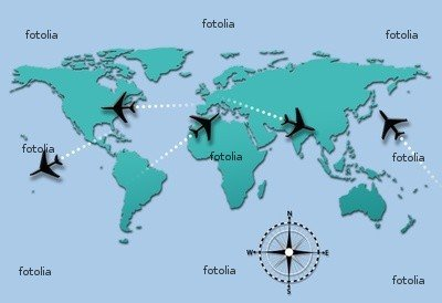 "Wallmonkeys Peel and Stick Wall Graphic - Airline Travel Plane Flight Paths on World Map - 60""W x 41""H"