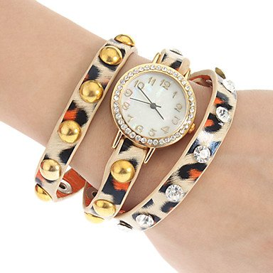 M.M.Women'S Crystal Leopard Print Leather Band Quartz Analog Bracelet Watch (Assorted Colors)